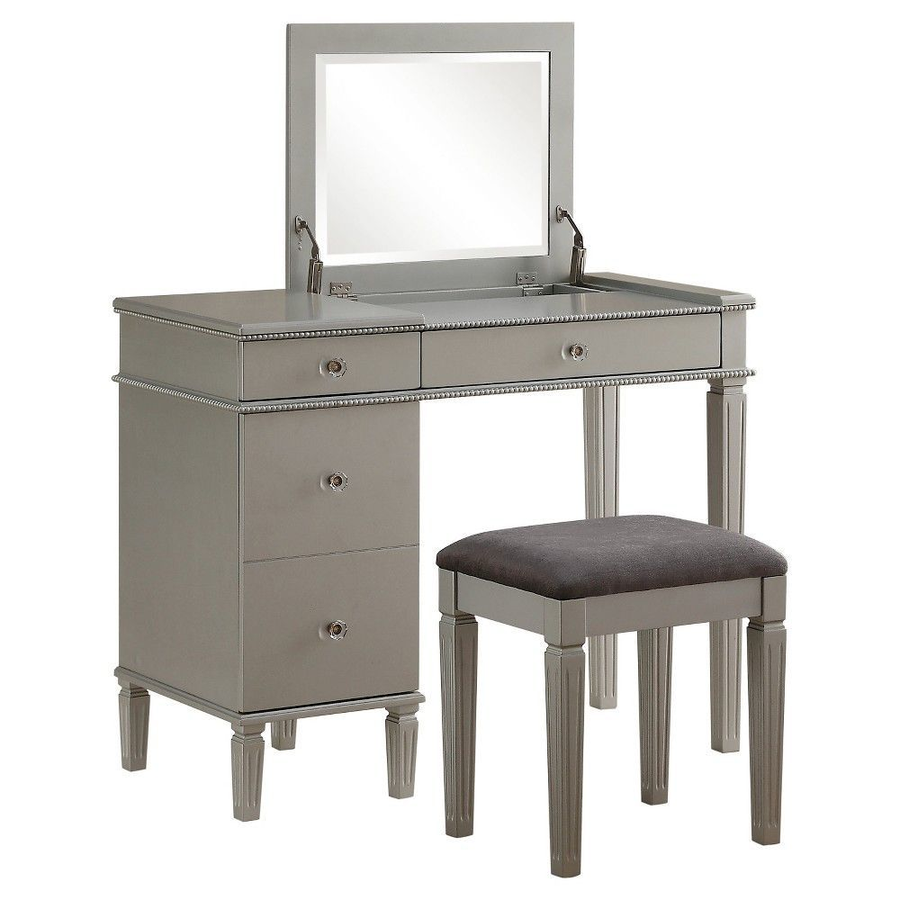 grey vanity chair with silver legs
