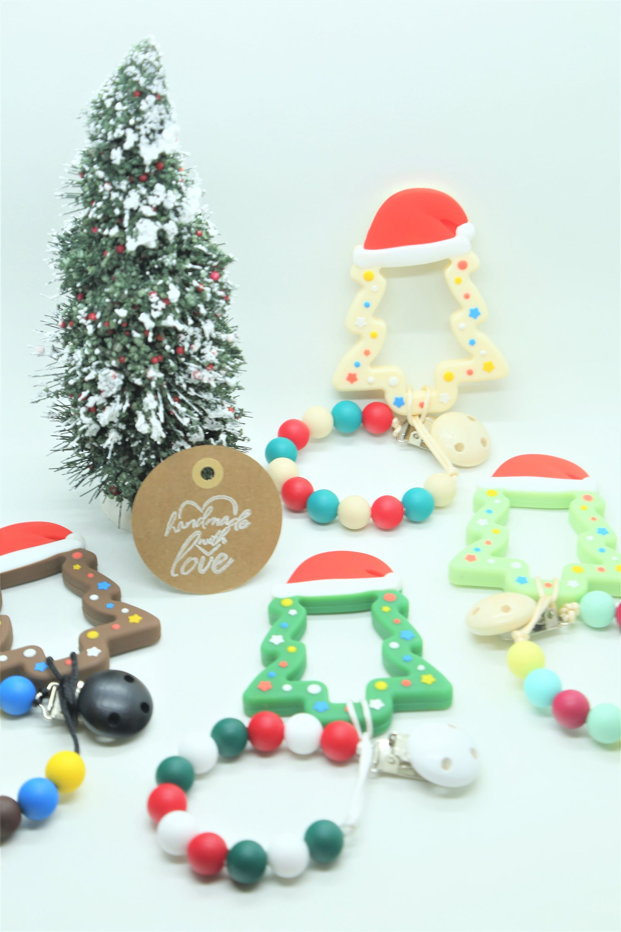 Pacifier Clip, Soother Clip, Dummy Clip, Christmas Tree Teether, Teething