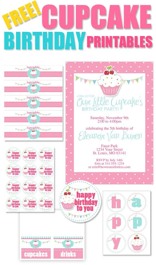 Cupcake Themed Birthday Party with FREE Printables – Printed Birthday Invitations