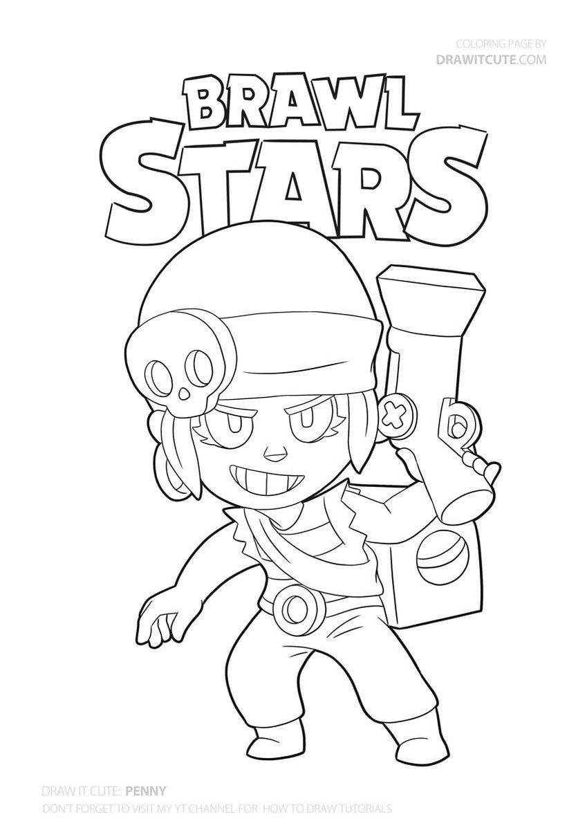 Penny From Brawl Stars Brawl Brawlstars Draw Drawings Howto Howtodraw Coloringpages Fanart Wall Star Coloring Pages Coloring Pages Cute Coloring Pages