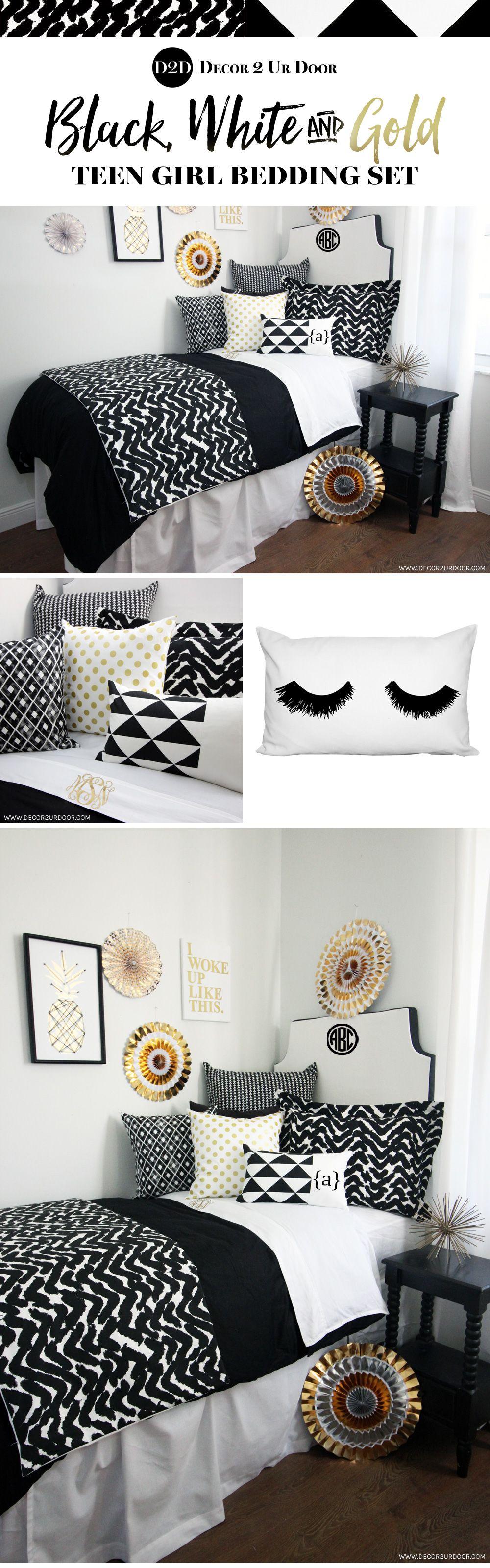 Trendy Black And White Dorm Room Bold Black And Beautiful This Black And White And Gold Dorm Bedding White Dorm Room Dorm Room Bedding Modern Dorm Room
