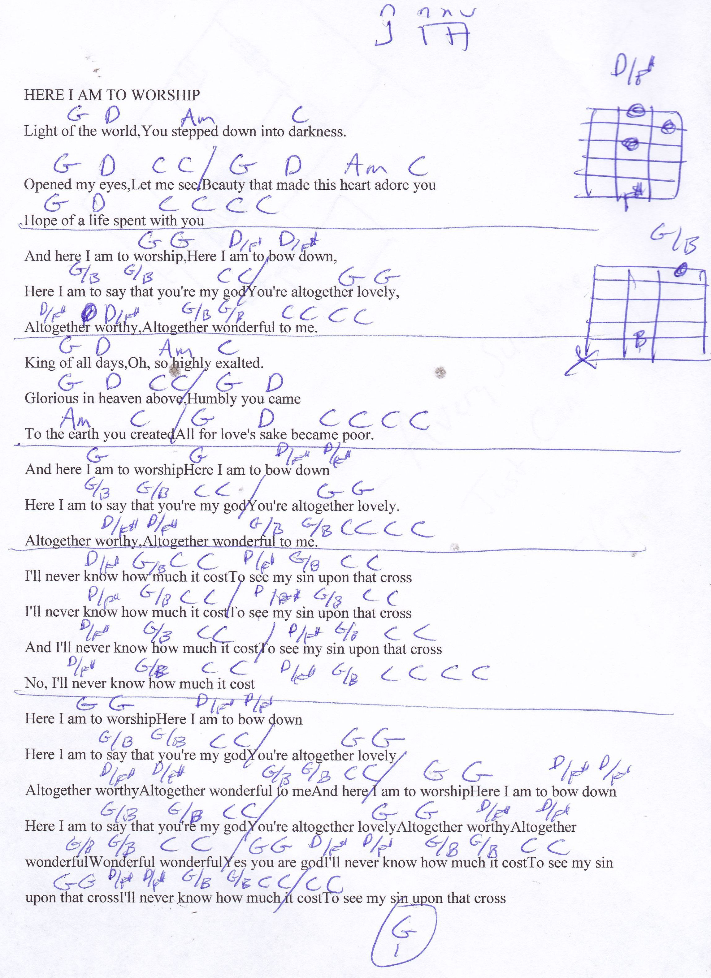 Here I Am To Worship Chris Tomlin Guitar Chord Chart Guitar