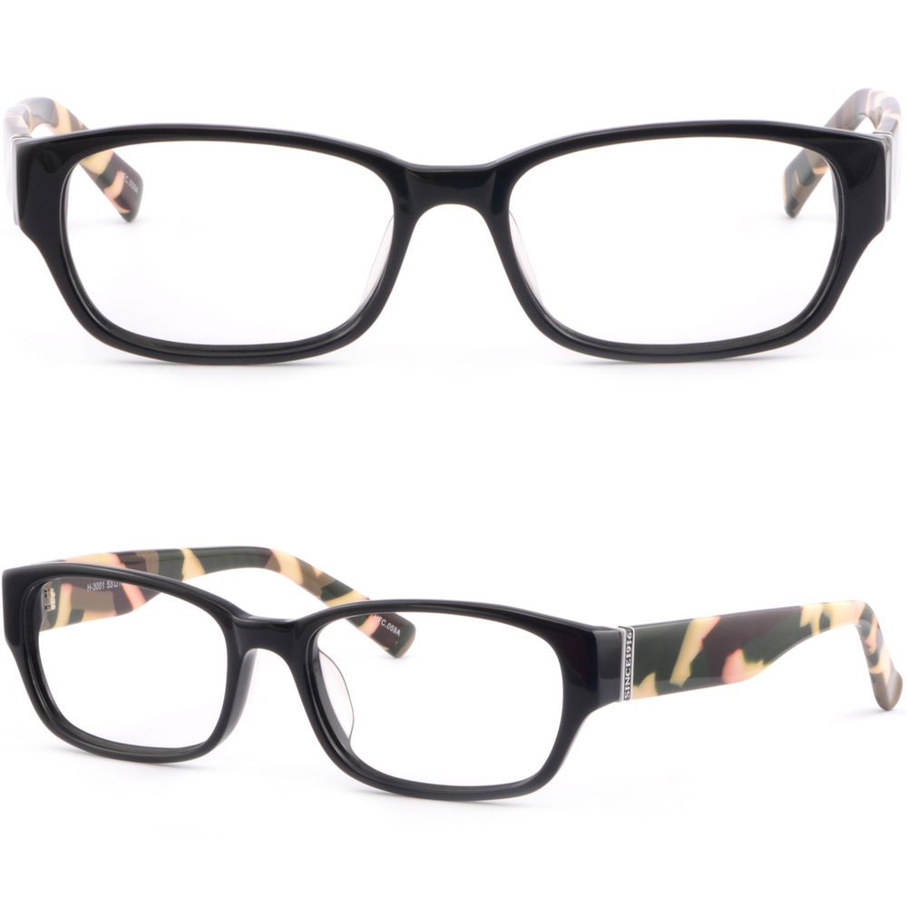 0d09ce5f6d Rectangular Mens Womens Plastic Frames Prescription Eye Glasses Black  Camouflage  Unbranded