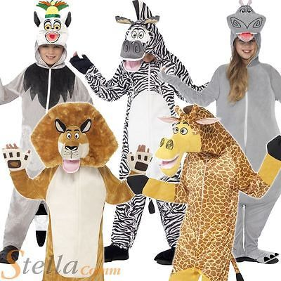 Tiger Costume Mens  Ladies Zoo Animal Fancy Dress All in One Jumpsuit Book Week