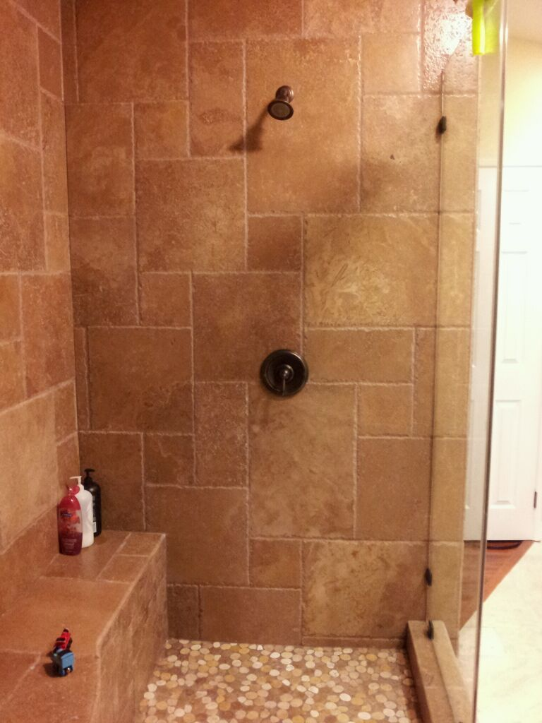 master bath: standing shower add rain shower head above | Bathroom ...