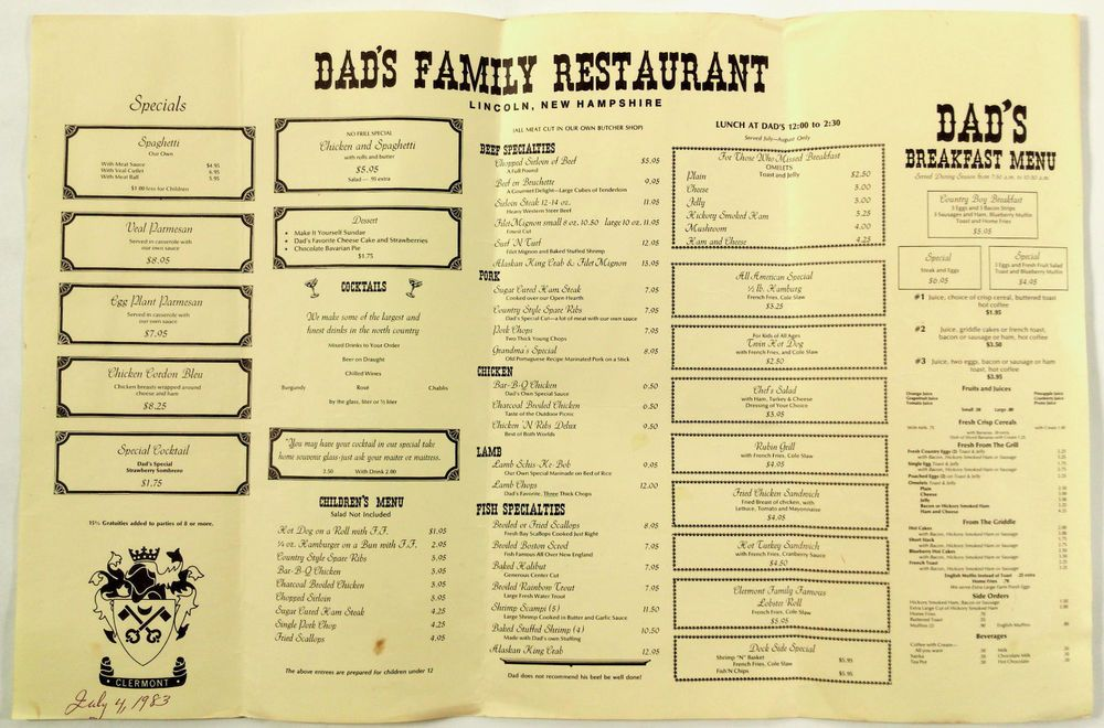 Details About 1983 Vintage Full Size Menu Dad S Family