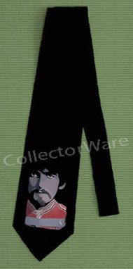 BEATLES George Harrison drawing 1 CUSTOM ART UNIQUE TIE   Each necktie is individually hand-painted, a true and unique work of art indeed!  To order this, or design your own custom tie, please contact us at info@collectorware.com, or visit http://www.collectorware.com/neckties-beatles_andrelated.htm