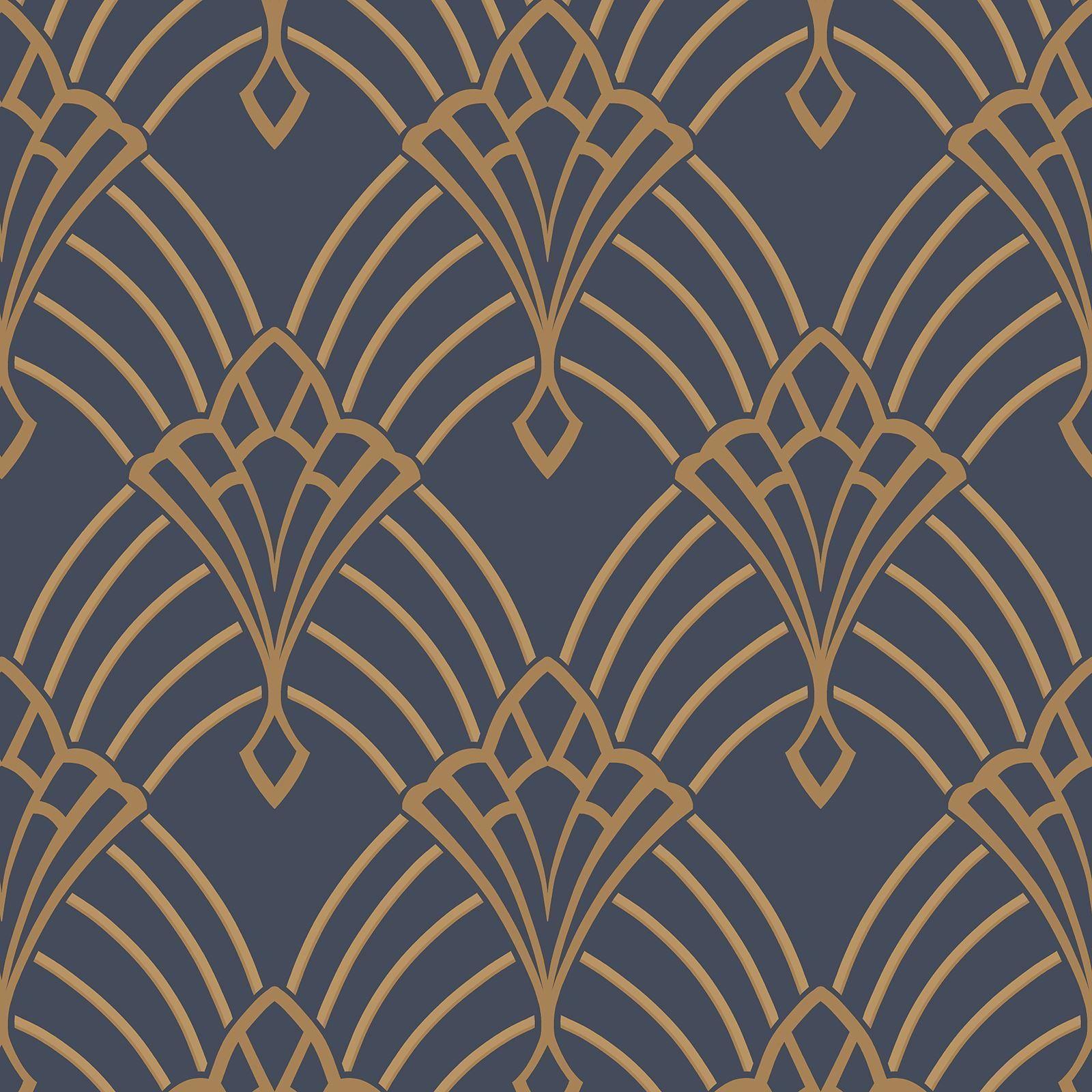 Astoria Art Déco Papier Peint Rouleaux Bleu Foncé / Doré
