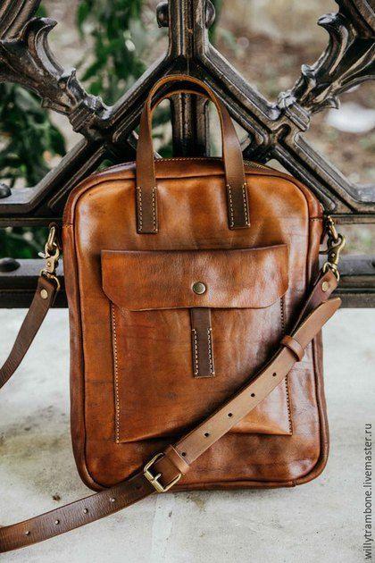 4597ae18da90 Мужские сумки ручной работы. Brick Brown Bag. Глеб Борисов. Интернет-магазин  Ярмарка Мастеров. Купить кожаную сумку