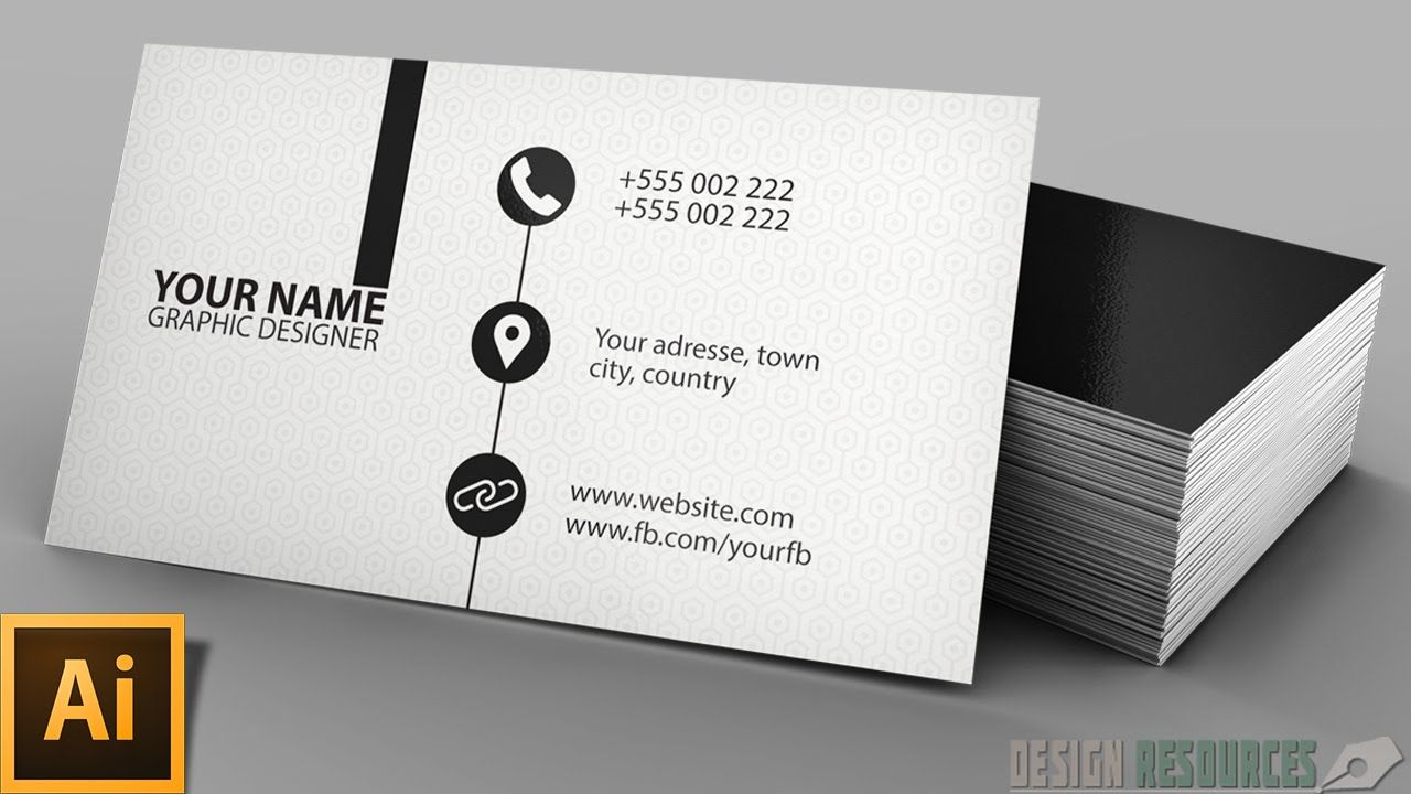 Clean Modern Business Card Illustrator Tutorial Printing Business Cards Business Card Design Modern Business Cards