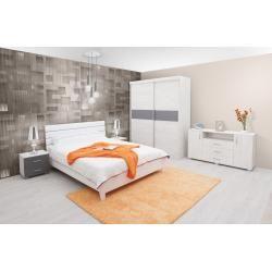 Photo of Schlafzimmer Komplett – Set N Bermeo, 5-teilig, teilmassiv, Farbe: Eiche Weiß / Anthrazit / Weiß Eas
