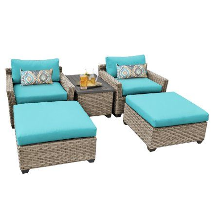Buy Hampton 5 Piece Outdoor Wicker Patio Furniture Set 05a At Walmart.