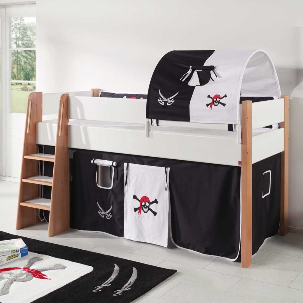 Piraten Kinderbett in Schwarz Weiß halbhoch Jetzt bestellen unter ...