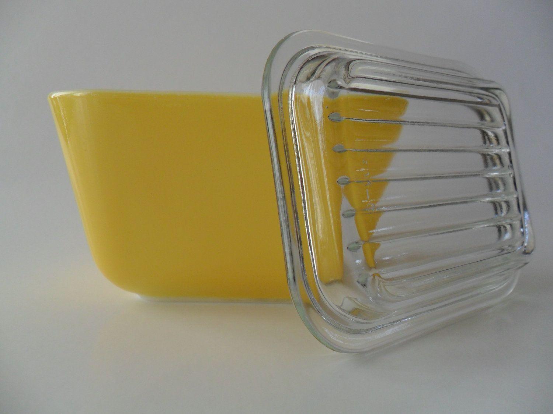 Vintage Yellow Pyrex Butter Dish by JennyBeauBenny on Etsy.