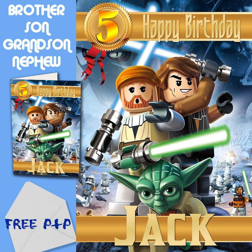 STAR WARS LEGO - PERSONALISED Birthday Card Son Brother Nephew Grandson