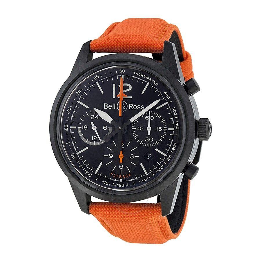 Bell and Ross Vintage Blackbird Chronograph Orange Canvas Men's Watch BR126-BLKBIRD - Vintage - Bell and Ross - Watches - Jomashop