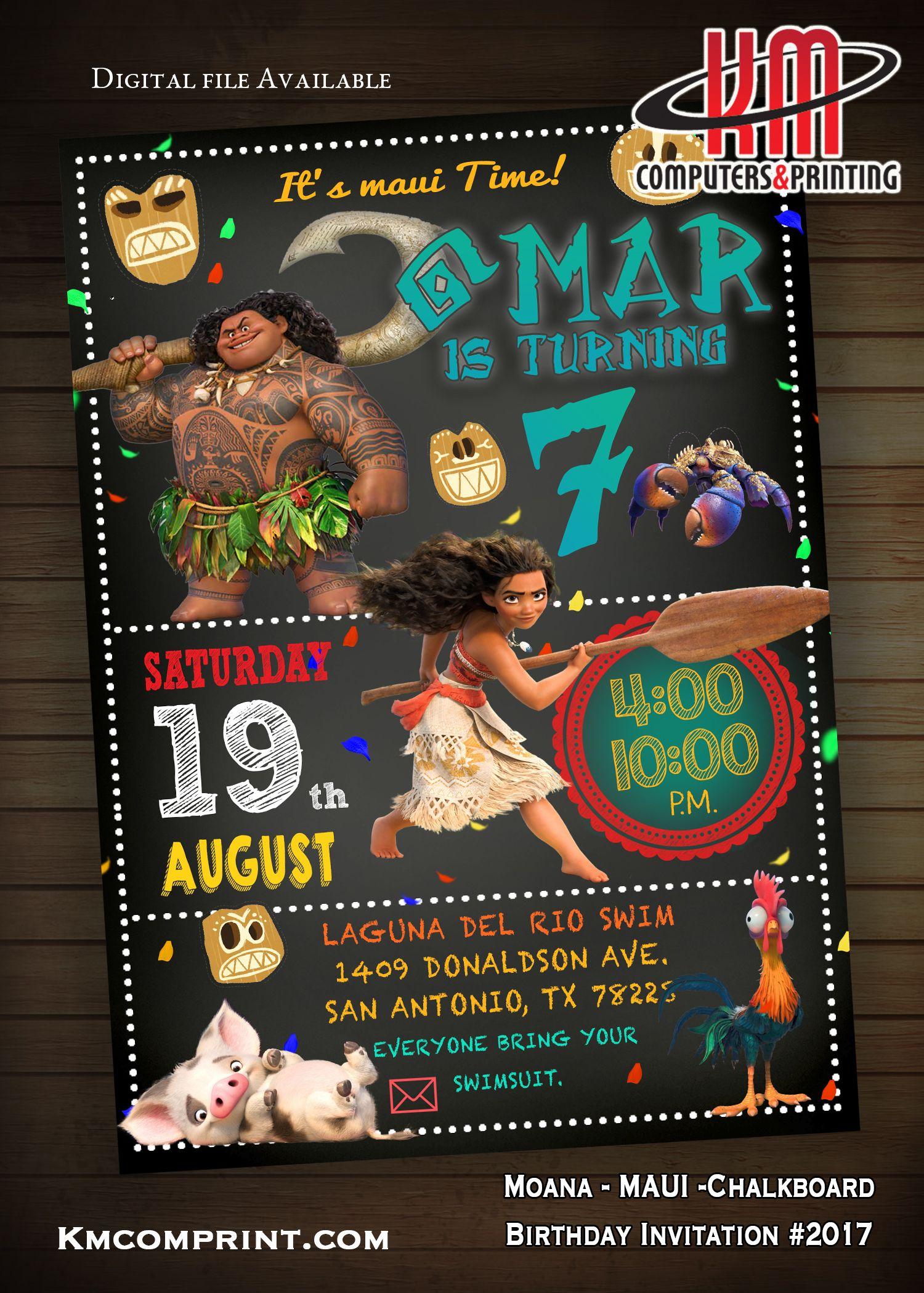 UnisexMoanaMaui Birthday Invitation Digital 10 Printed available