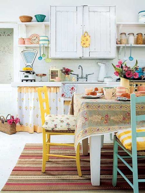 kitchen style, love the colored chairs and vintage fabrics