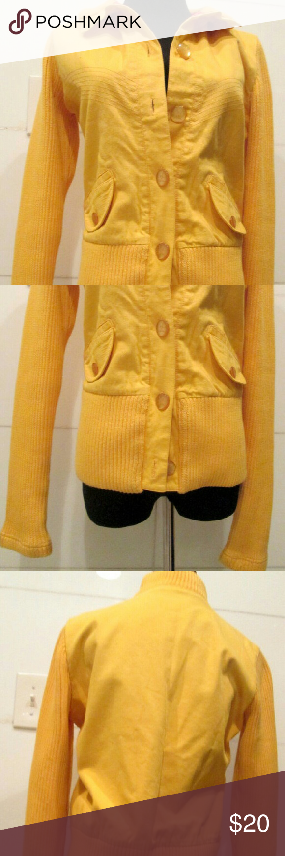 Vintage Preppy Yellow Ribbed Sweater Size M | Preppy sweater and ...