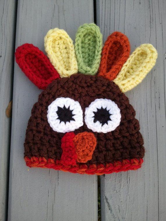 Crochet Turkey Hat (Sizes Newborn-Toddler) Gobble Gobble- Crochet Thanksgiving Hat- Newborn Turkey Beanie- Newborn Photo Prop