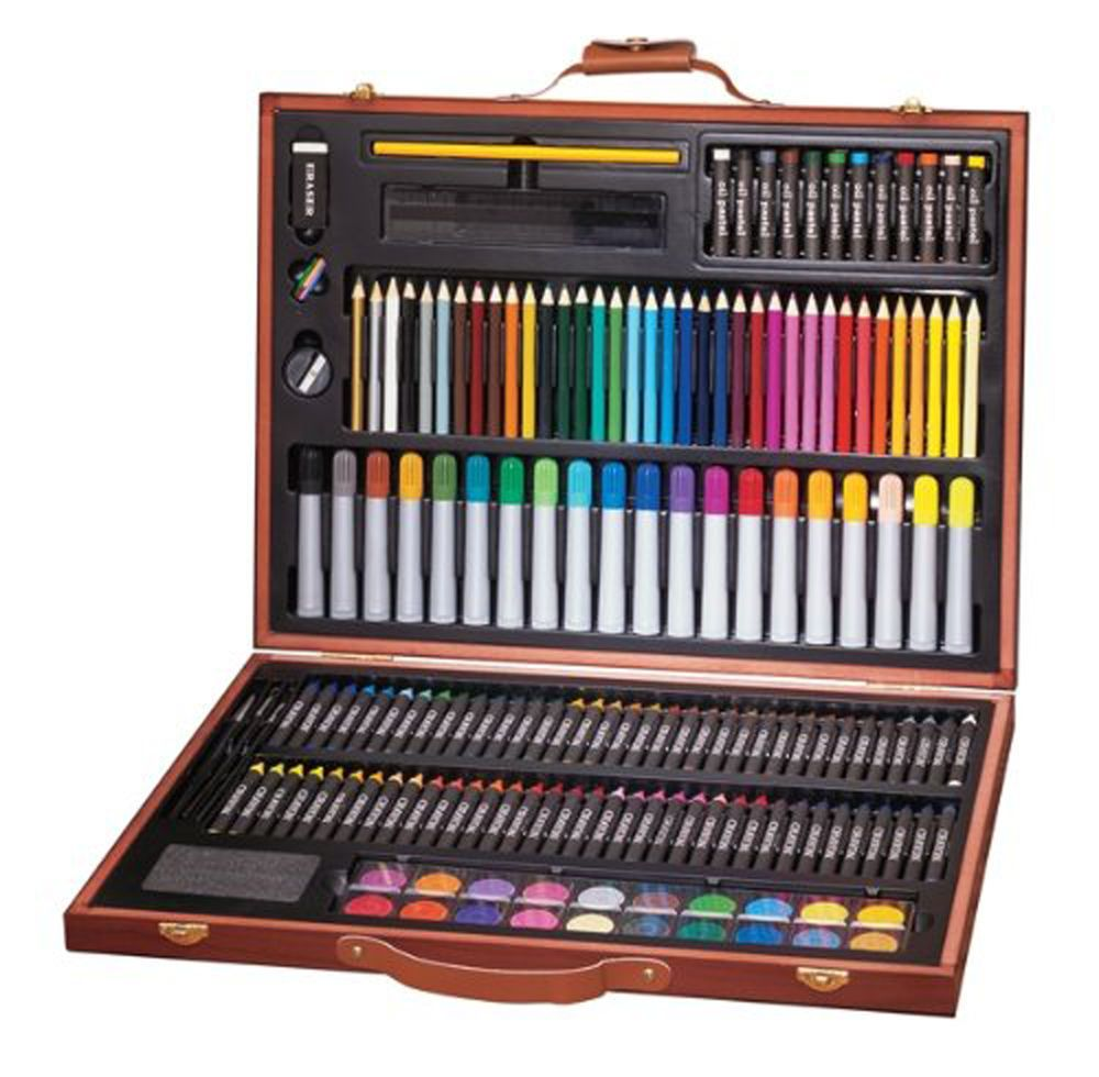 Deluxe Art Set 173 Piece Drawing Painting Supplies Wooden Box Case