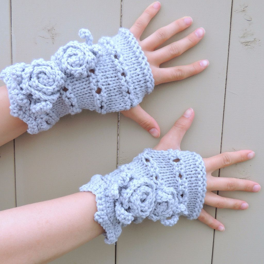 Rose Onie Classic Fingerless Gloves, Hand Warmers - Silver Blue Grey - Meino Wool