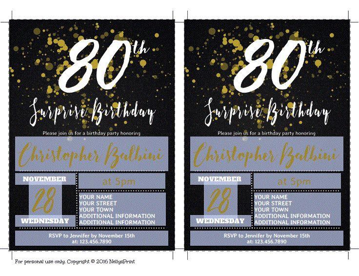 80th surprise birthday invitation adult birthday invitations 80th surprise birthday invitation adult birthday invitations surprise birthday invitation self editable pdf filmwisefo