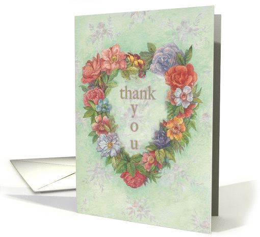 Photo of Thank You Illustrated Floral Heart Wreath card