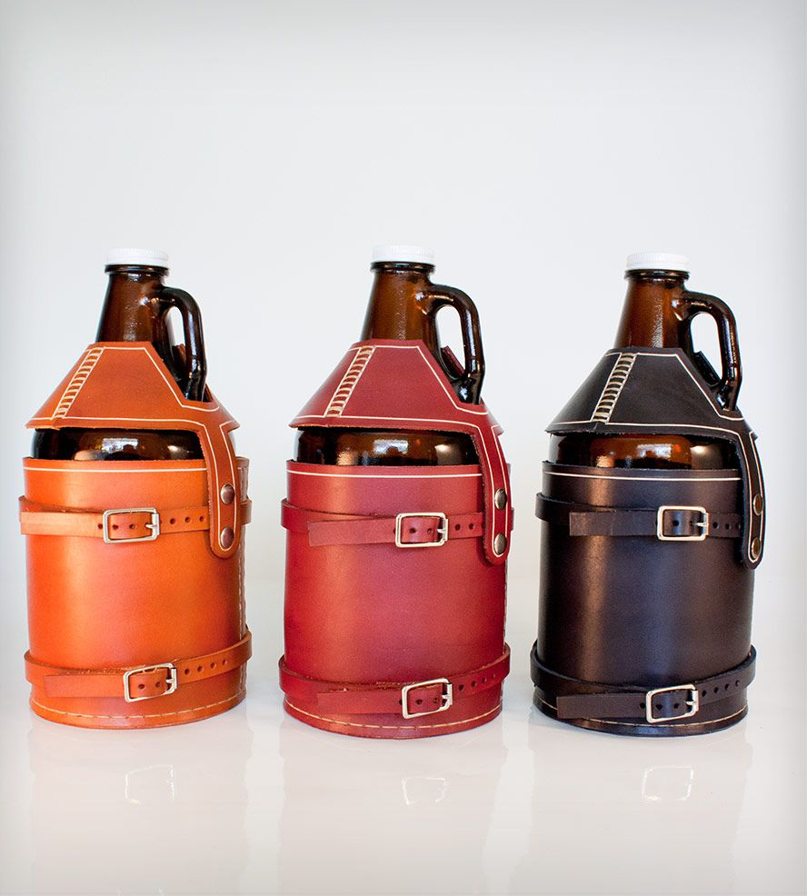 Leather Bike Mounted Growler Carrier By Pedal Happy On Scoutmob Shoppe We Are Obsessed 80 Beer Growler Carrier Leather Wine Carrier Beer Growler