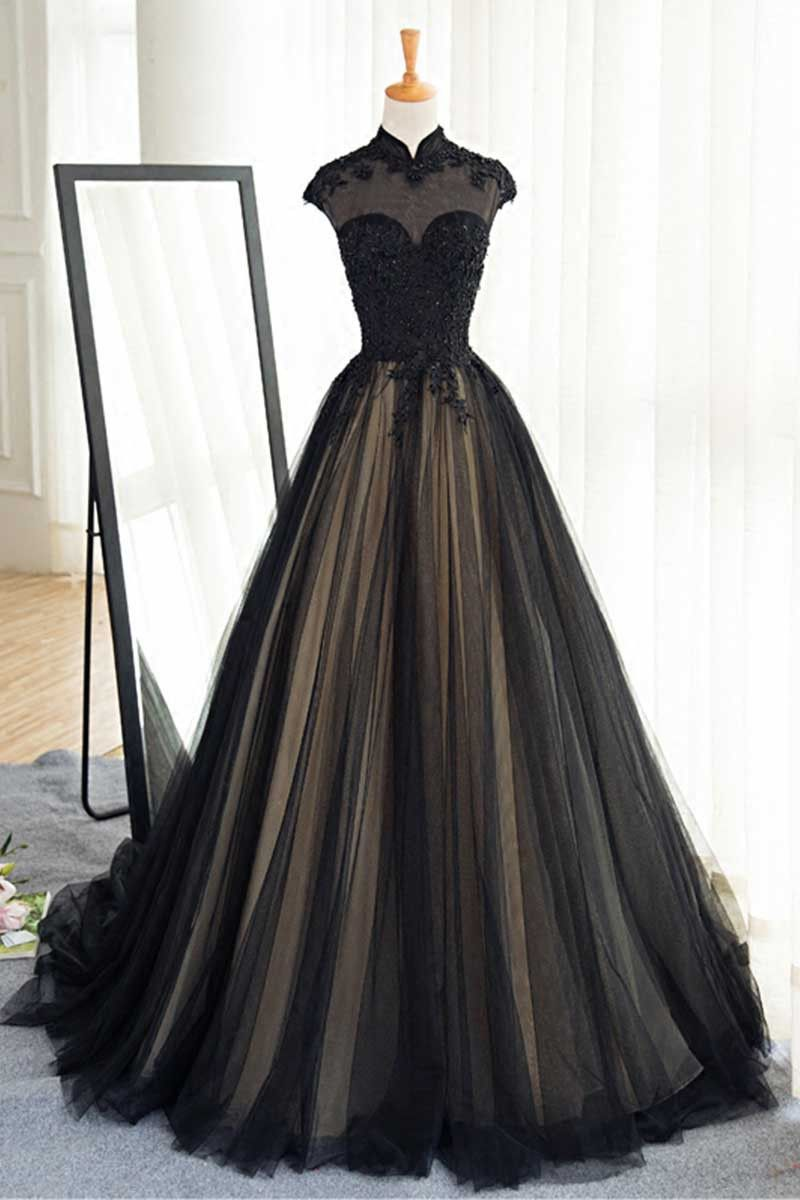 Black tulle lace long prom dress black tulle evening dress tulle