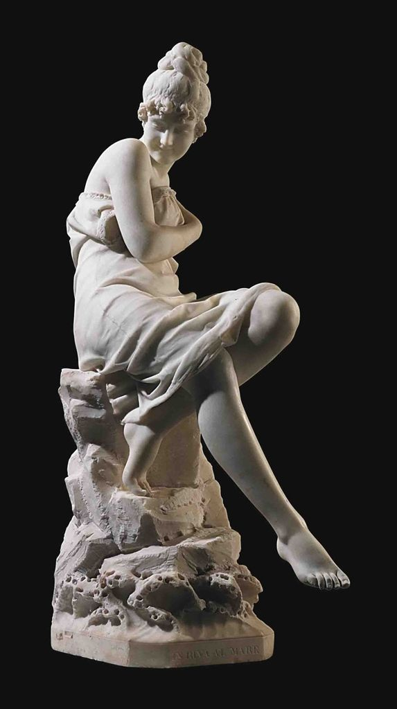 An Italian Marble Figure Entitled In Riva Al Mare By Cesare Lapini Florence Dated 1890 Sculptures Sculpture Clay Art