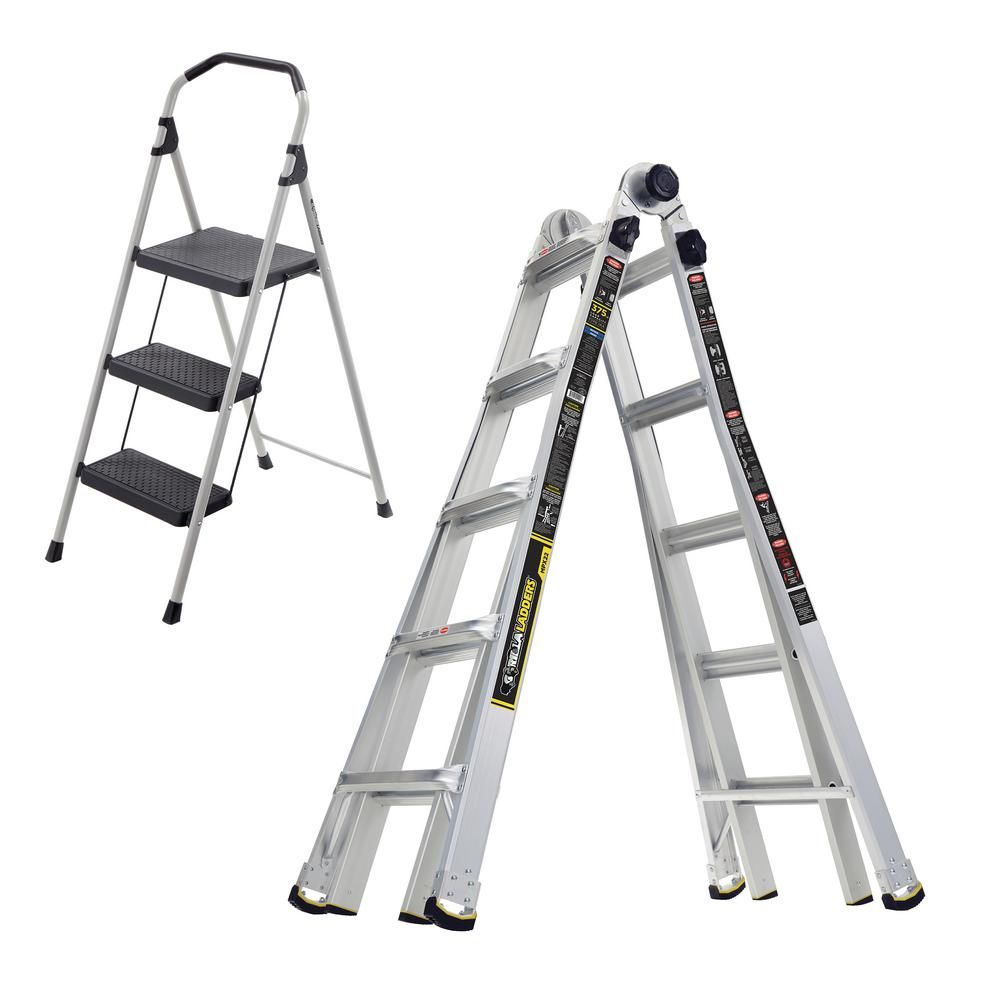 Gorilla Ladders 22 Ft Mpx Multi Position Ladder 3 Step Lightweight Steel Step Stool Combo Pack Portable Stool Wall Ladders In The Heights