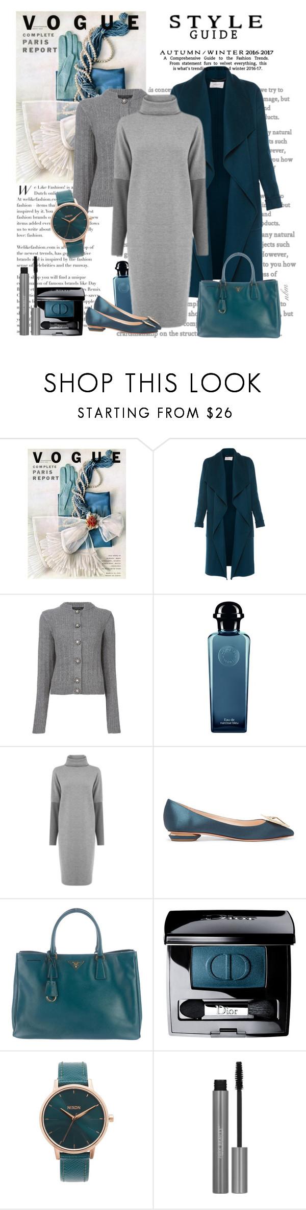 """Teal and Grey"" by nadine-b-martin ❤ liked on Polyvore featuring L.K.Bennett, Marc Jacobs, Hermès, Warehouse, Nicholas Kirkwood, Prada, Christian Dior and Nixon"
