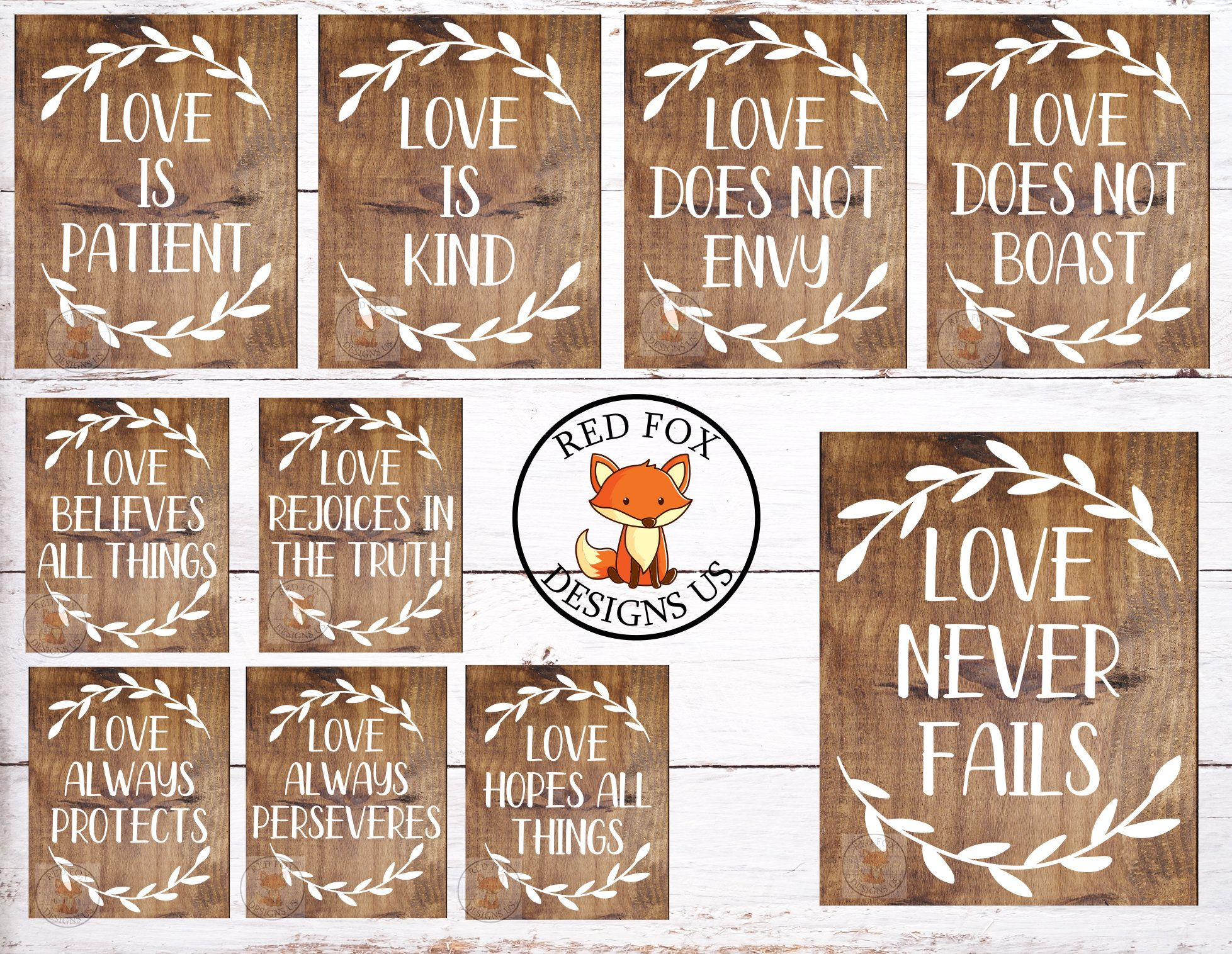 Set of 10 Wedding Aisle Signs Love is Kind Hand Painted Wood Wedding Signage Love Signs 1 Corinthians 13 Wedding Signs Love is Patient