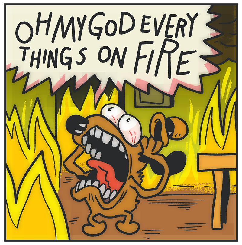 everything is on fire! This is fine dog, Comic book