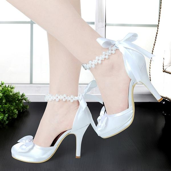 e57fdc20d41e5 Woman White Ivory High Heels Round Toe Platform Ankle Strap Satin Pumps  Wedding Prom Shoes