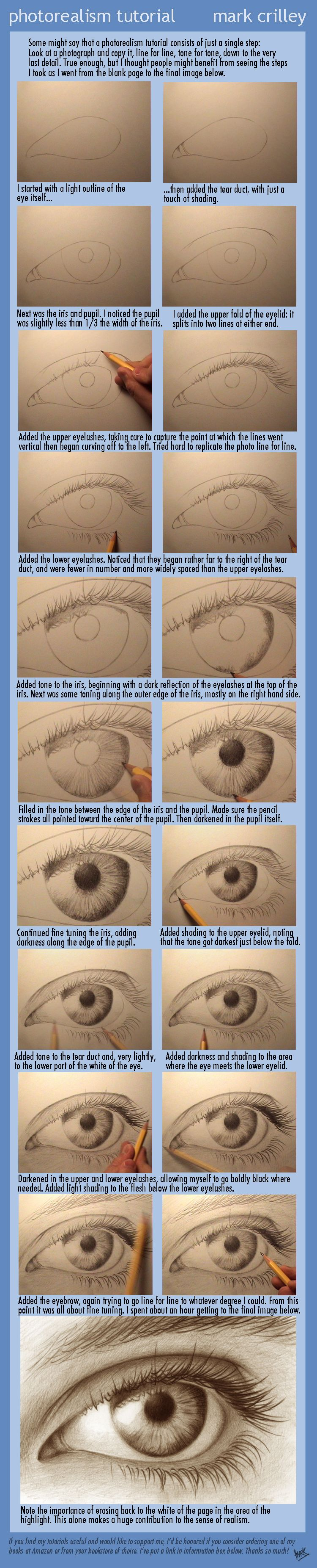 Photorealism Tutorial  - How to Draw an Eye by ~markcrilley on deviantART.  Mark is an amazing illustrator and his tutorials are great. This is the correct link to his original posting. http://markcrilley.deviantart.com/art/Photorealism-Tutorial-160594429