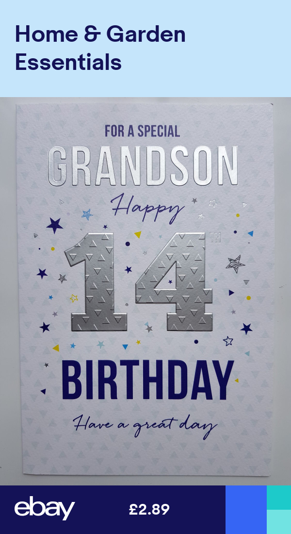 For A Special Grandson Happy 14th Birthday Card 14th
