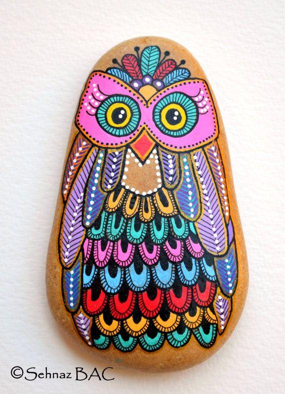 Eule Auf Stein Gemalt Hand Painted Stone Owl Steine Bemalen