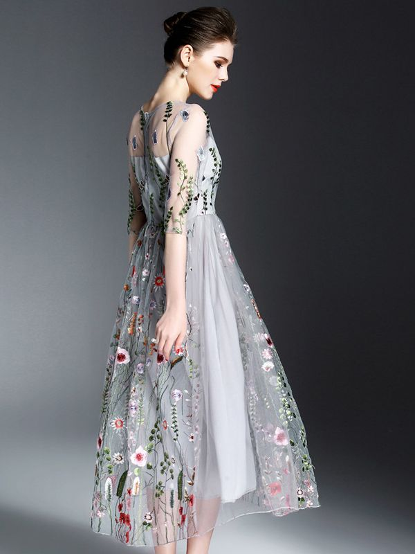 318614615a Grey Mesh Paneled Embroidered Floral Midi Dress | Summer looks ...