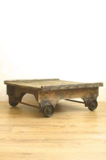 Chariot Sncf Vintage Tables Basses Anciennes Meuble De Metier Table Vintage