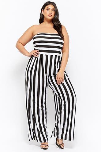 f73f013d7f6 Plus Size Rebdolls Inc. Striped Strapless Jumpsuit