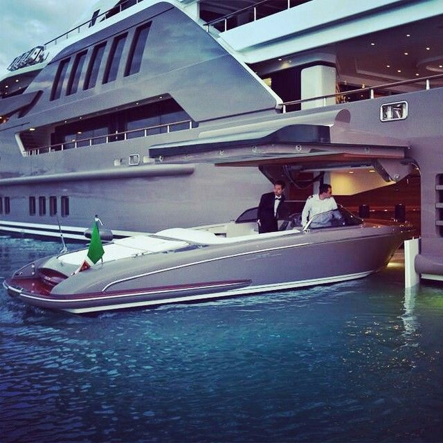 Luxury Yacht With A Garage For A Speed Boat On The Side Description