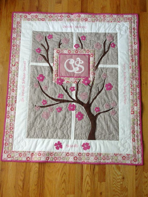 Personalized Cherry Blossoms Baby Quilt By Mypillowsandquilts 275 00 Cherry Blossom Nursery Baby Quilts Quilts