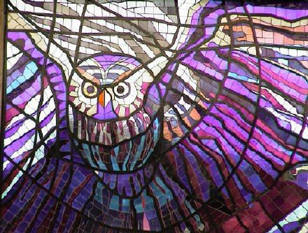 Stained glass owl . Toluca, Mexico