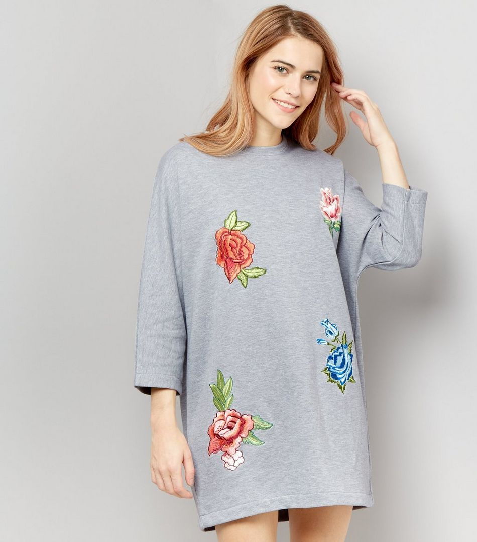 Cameo Rose Grey Rose Embroidered Sweater Dress | New Look