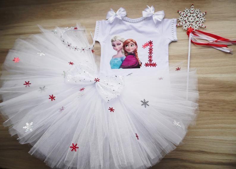 Frozen birthday tutu outfit, Girls Snowflake Frozen Tutu