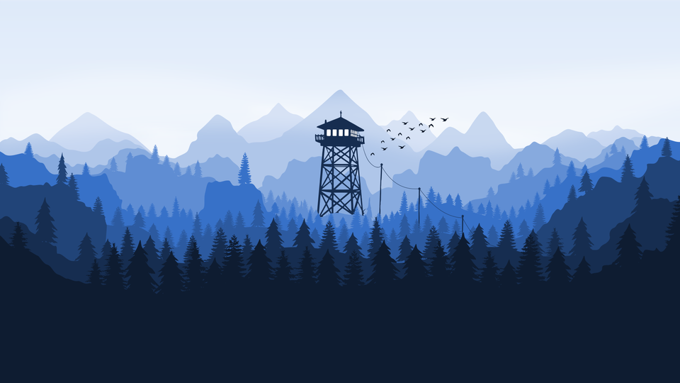 [4K] I remade the fire watch wallpaper in Inkscape but with a blue color scheme 4K
