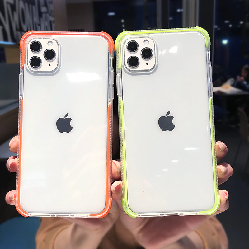 Shockproof Bumper Transparent Phone Case For Iphone 11pro Max X Xr Xs Max 8 7 6 6s Plus Soft Silicone Full Protection Back Cover Transparent Phone Case Iphone Phone Cases Iphone
