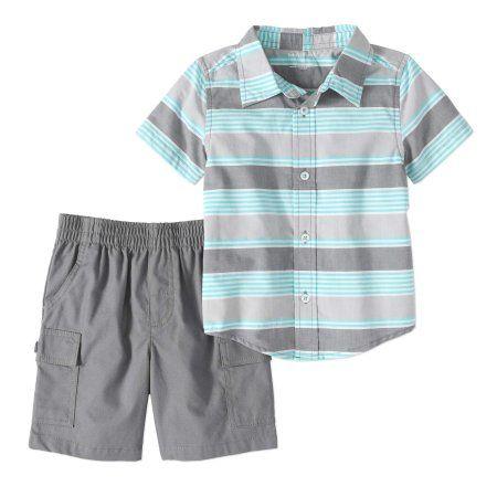 279c6ded716d Healthtex Toddler Boy Short Sleeve Woven Button-up Shirt   Cargo Shorts